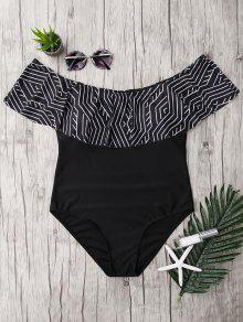 ملابس السباحة بلا اكتاف كشكش الحجم الكبير - أسود 5xl