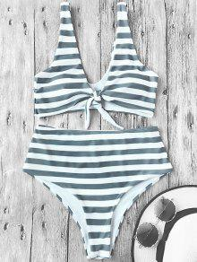 Knotted Striped High Waisted Bikini Set - Stripe L