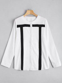 Kontraste Langarm Bluse mit Knpfe