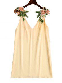 Vestido Recto Con Parche Floral - Champán M