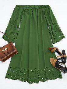 فستان الليزر قطع ميدي بلا اكتاف - الجيش الأخضر M