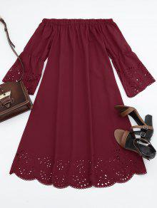 Laser Cut Midi Off The Shoulder Dress - Claret S