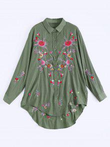 Floral Embroidered Button Up High Low Dress - Army Green L