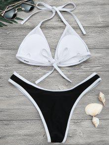 063255c9e3 18% OFF   HOT  2019 High Cut Contrast Piping Bikini Set In BLACK S ...