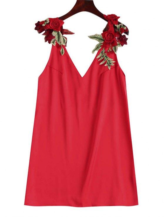 فستان زهري ذو رقعة مستقيم - أحمر L
