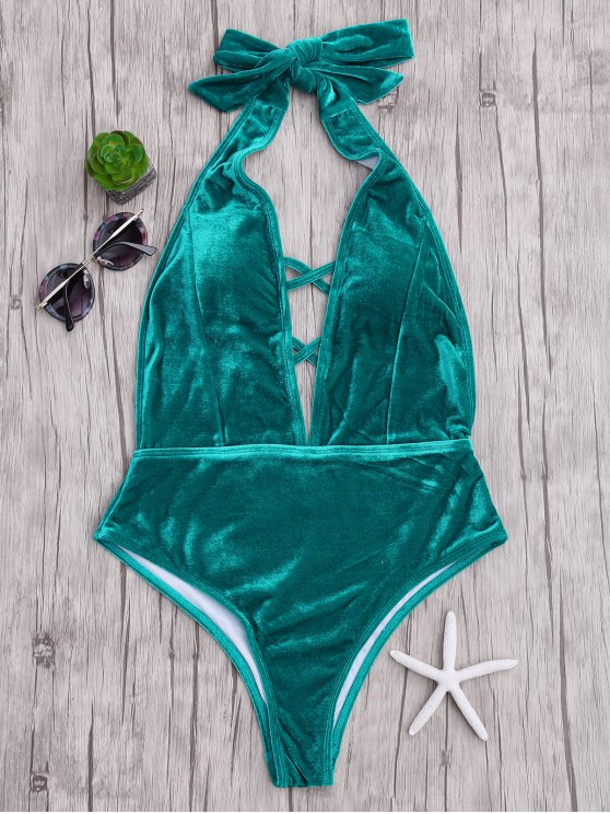 affordable Velvet Plunge Backless One Piece Swimsuit - MALACHITE GREEN S