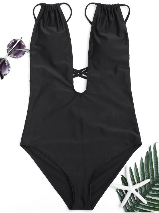 women Cross Back High Cut Swimwear - BLACK M