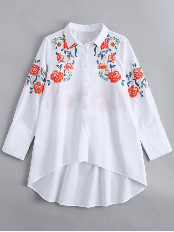 affordable Long Sleeve Embroidered High Low Shirt - WHITE L