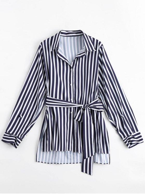 women's Longline Belted Stripes Side Slit Shirt - STRIPE M