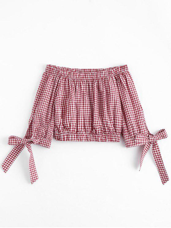 trendy Bowknot Checked Off Shoulder Top - CHECKED S