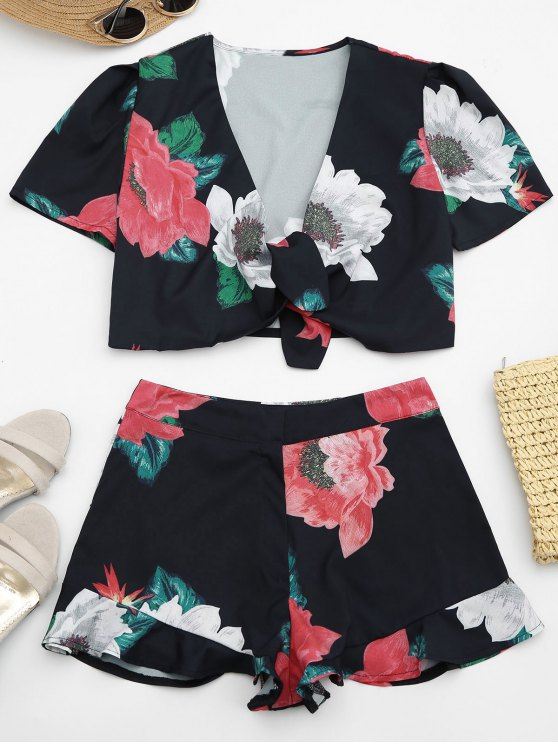 affordable Cropped Floral Wrap Top and Ruffles Shorts - BLACK S