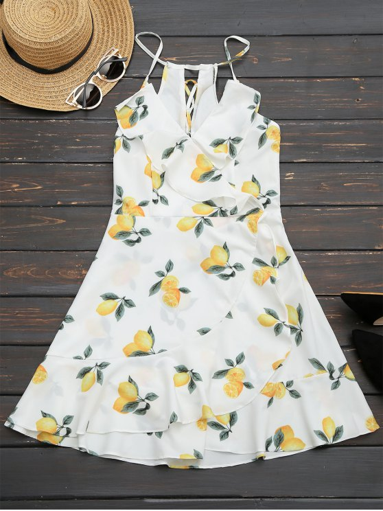 women Ruffles Lemon Lace Up Mini Dress - WHITE S
