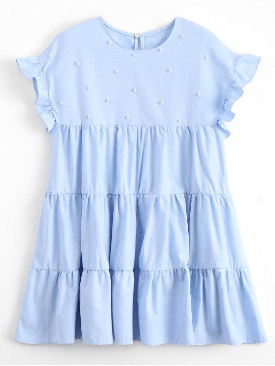 lady Ruffles Beading Tunic Mini Dress - LIGHT BLUE S