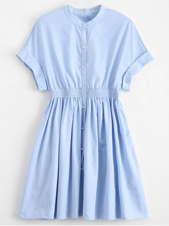 a16b50a86cff 22% OFF  2019 Smocked Waist Button Up Casual Dress In LIGHT BLUE