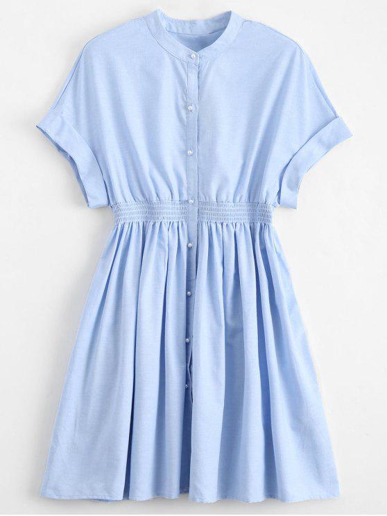 new Smocked Waist Button Up Casual Dress - LIGHT BLUE S