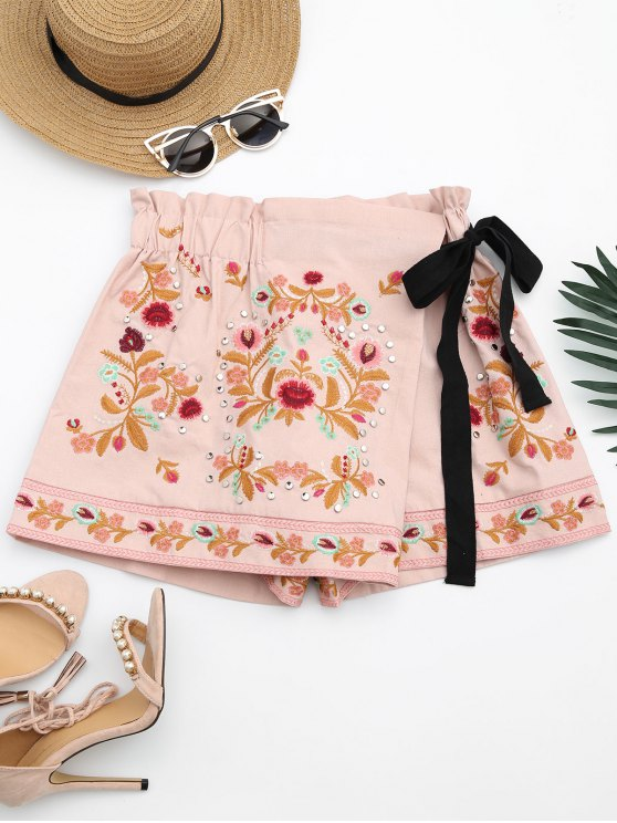 hot Bowknot Floral Embroidered Culotte Shorts - PINK L
