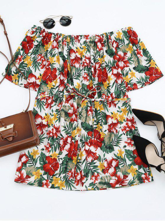 sale Off Shoulder Belted Floral Smocked Dress - WHITE L