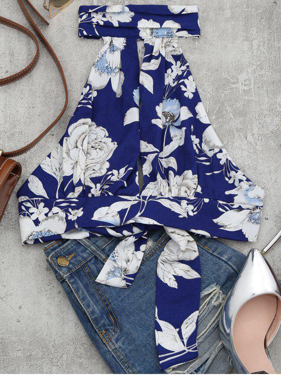 shop Floral Print Cut Out Sleeveless Crop Top - FLORAL L