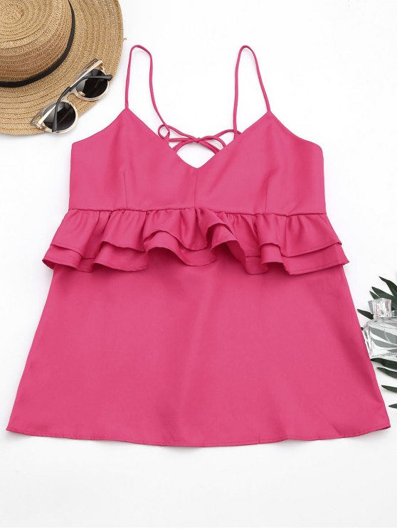 sale Cami Ruffles Lace Up Tank Top - ROSE RED S
