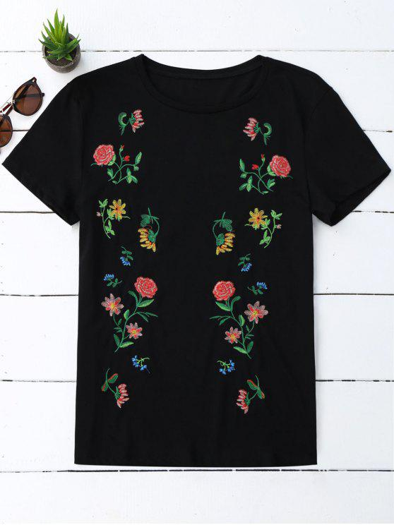 new Cotton Loose Floral Embroidery T-Shirt - BLACK L