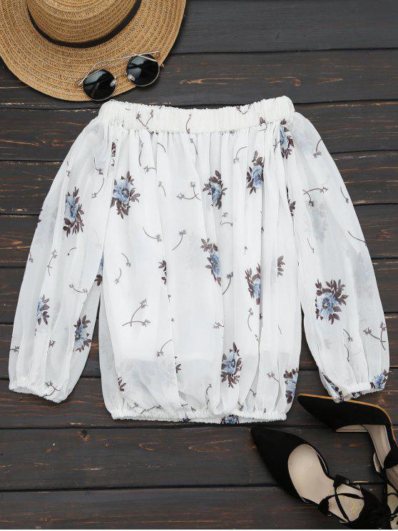 De la blusa impresa de la flor del hombro - Blanco M