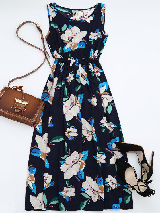 فستان عالية الخصر بلا أكمام زهري ماكسي - الأرجواني الأزرق M