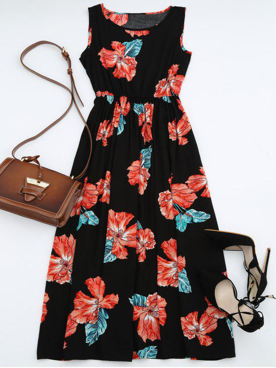 latest High Waisted Sleeveless Floral Maxi Dress - BLACK M