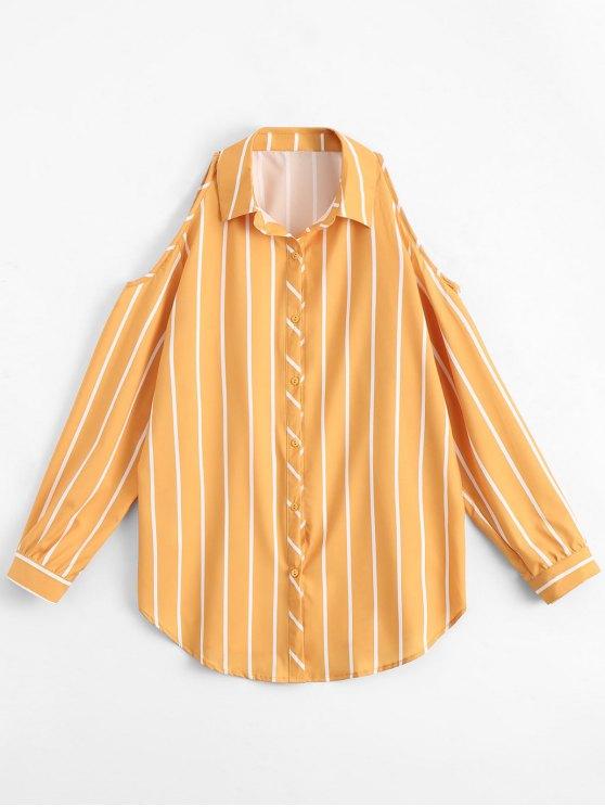 fancy Stripes Loose Cold Shoulder Shirt - STRIPE L