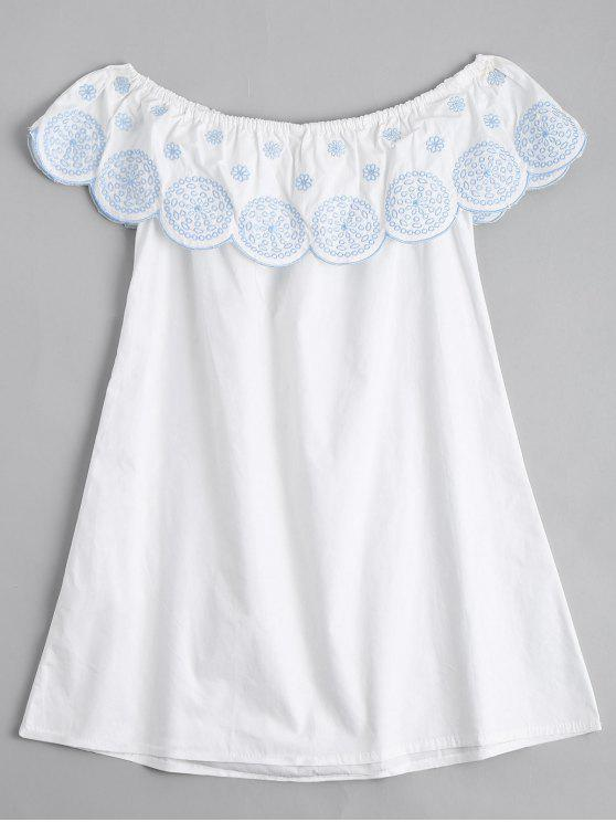 womens Flounce Off The Shoulder Embroidered Dress - WHITE M