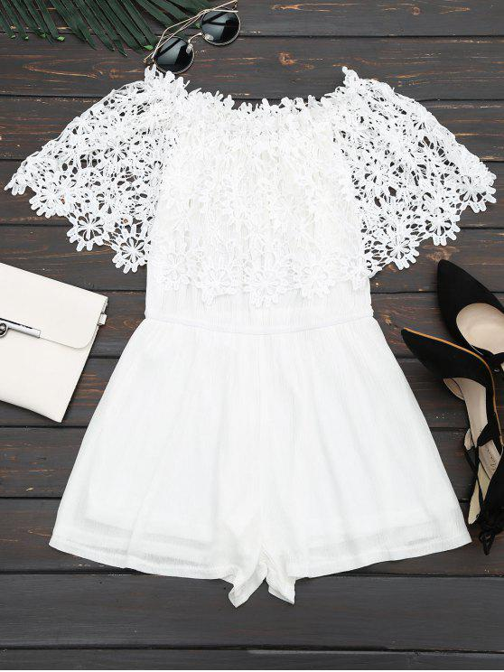 hot Off The Shoulder Lace Panel Romper - WHITE L