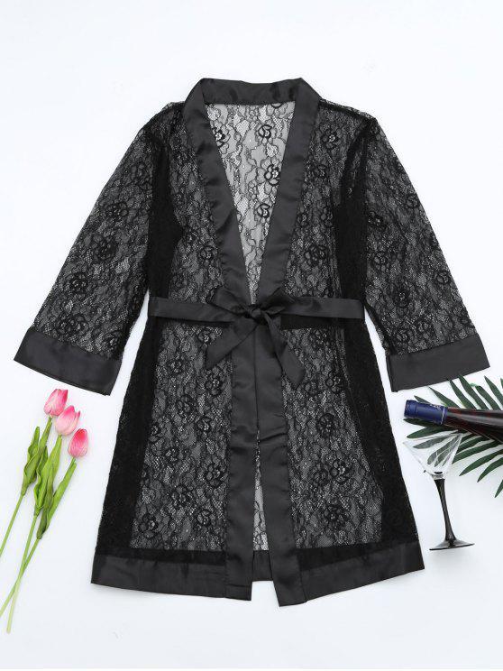 unique Grosgrain Belt Sheer Lace Sleep Robe - BLACK ONE SIZE