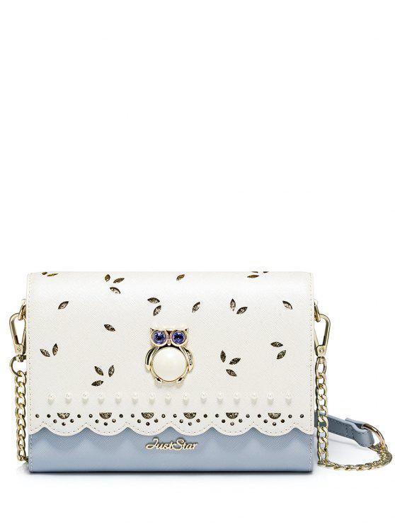 fancy Owl Cut Out Scalloped Crossbody Bag - BLUE