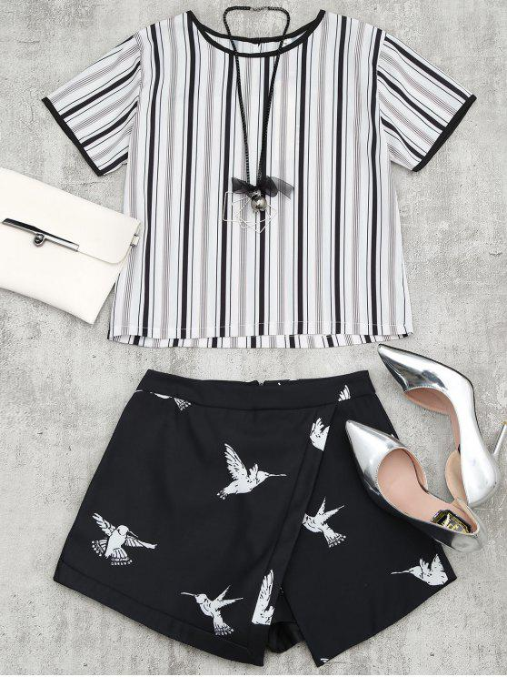 shop Bird Print Striped Suit with Necklace - BLACK S