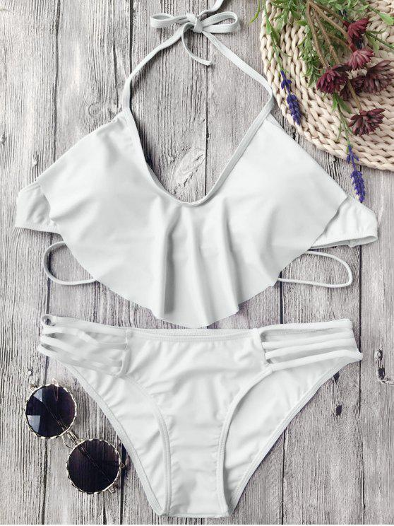 women's Flutter Draped Halter Bikini Set - GREY WHITE L