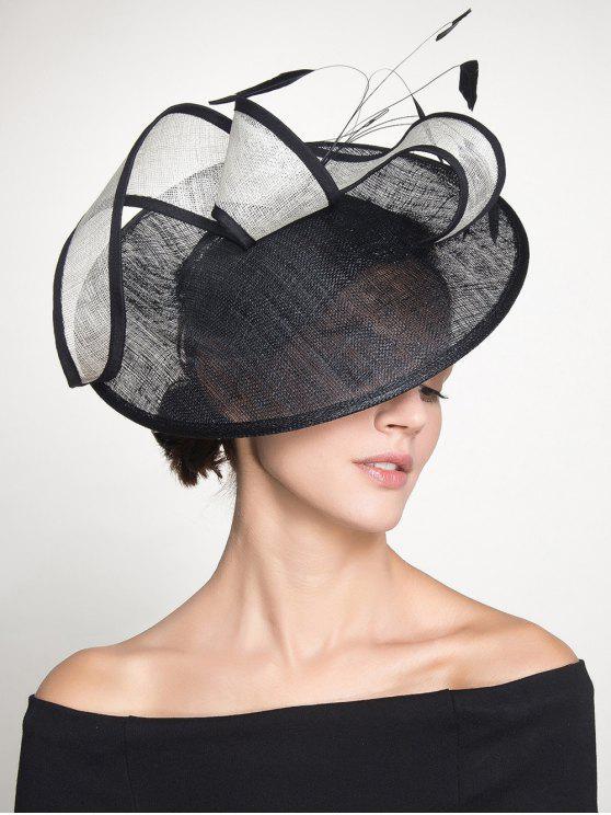 قبعة كوكتيل منمق ريشة كامبريك - أسود
