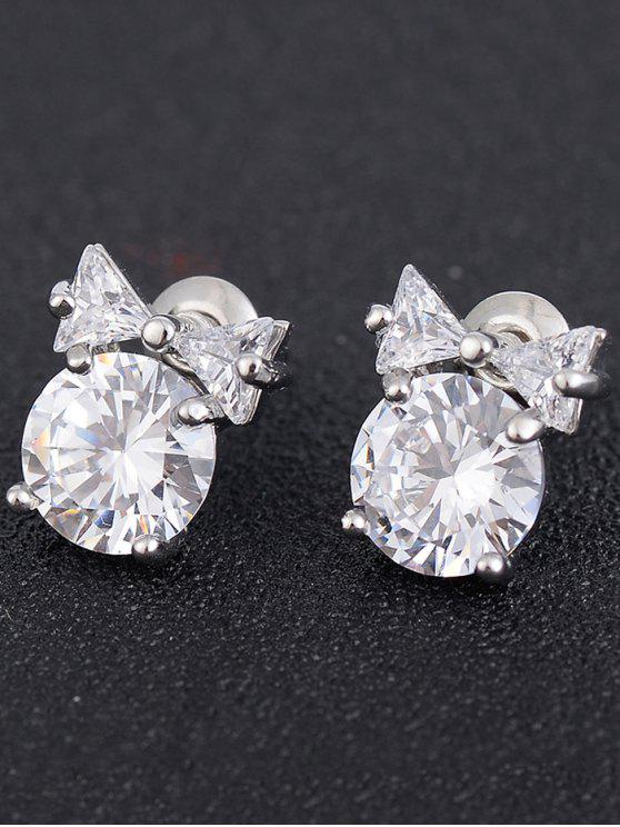 Tiny Bowknot Faux Diamond Stud Earrings Silver