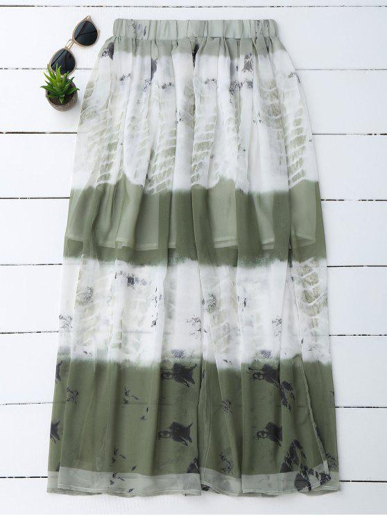 affordable Printed Chiffon Slit A Line Skirt - WHITE L
