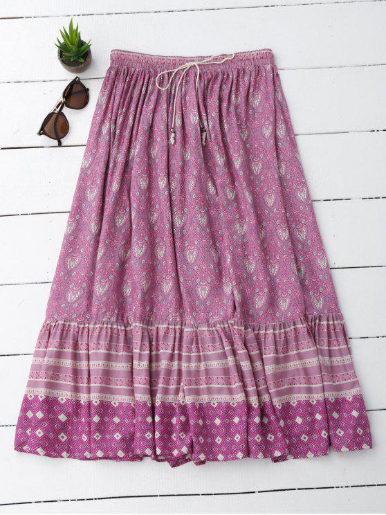 Flounces Tribal Imprimir una falda de línea - Morado Claro L