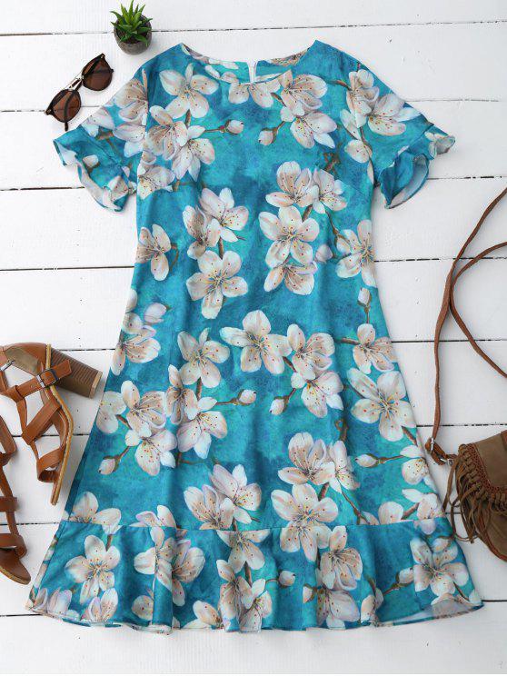 Flounces Floral A Line Dress - Floral L