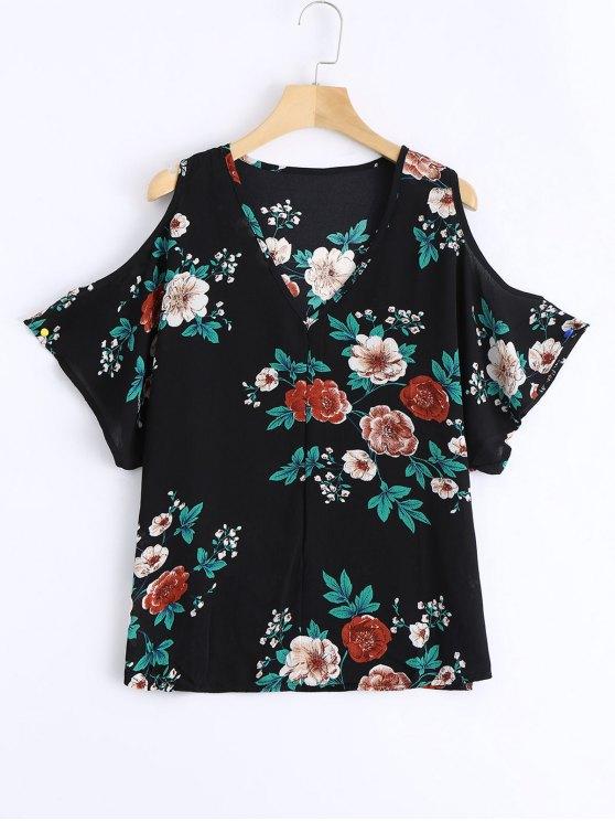 chic Cold Shoulder Floral Print Swing Blouse - BLACK S