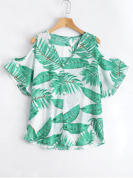 ladies Leaves Print Cold Shoulder Blouse - JADE GREEN XL