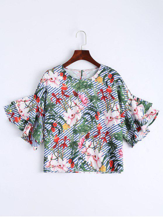 lady Floral Bell Sleeve Striped Blouse - FLORAL L