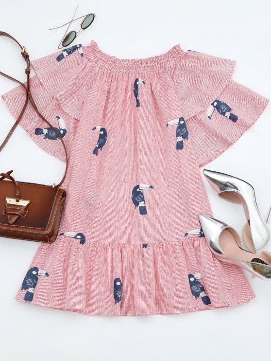 best Off Shoulder Smocked Striped Ruffles Dress - STRIPE ONE SIZE