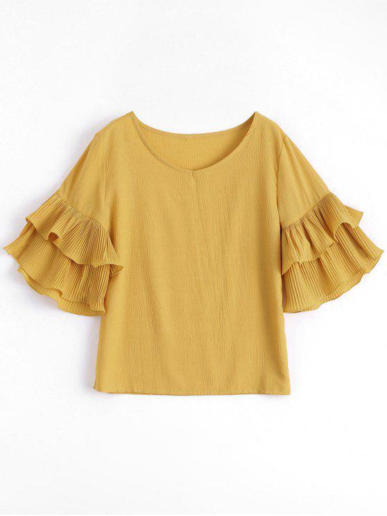 hot Tiered Flare Sleeve Blouse - GINGER ONE SIZE