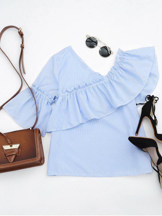 Ruffle Hem Skew cuello Blusa rayada - Azul Claro S
