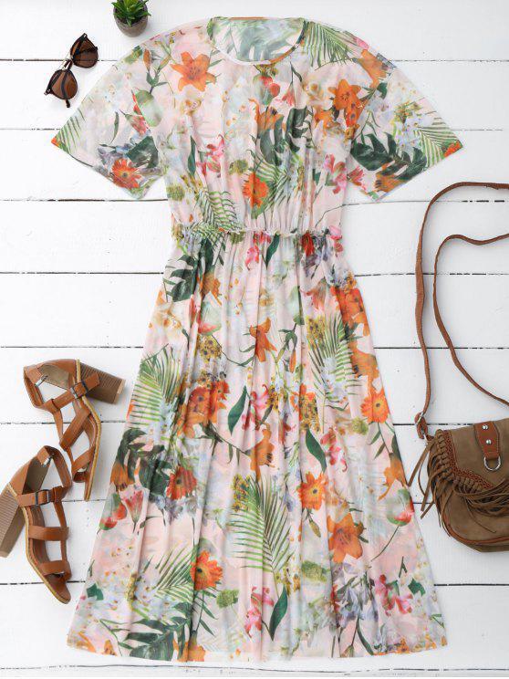 womens Elastic Waist Sheer Floral Midi Dress - FLORAL L