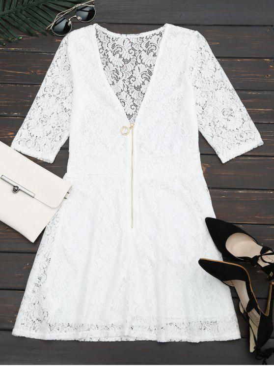 lady Plunging Neck Half Zip Lace Dress - WHITE M