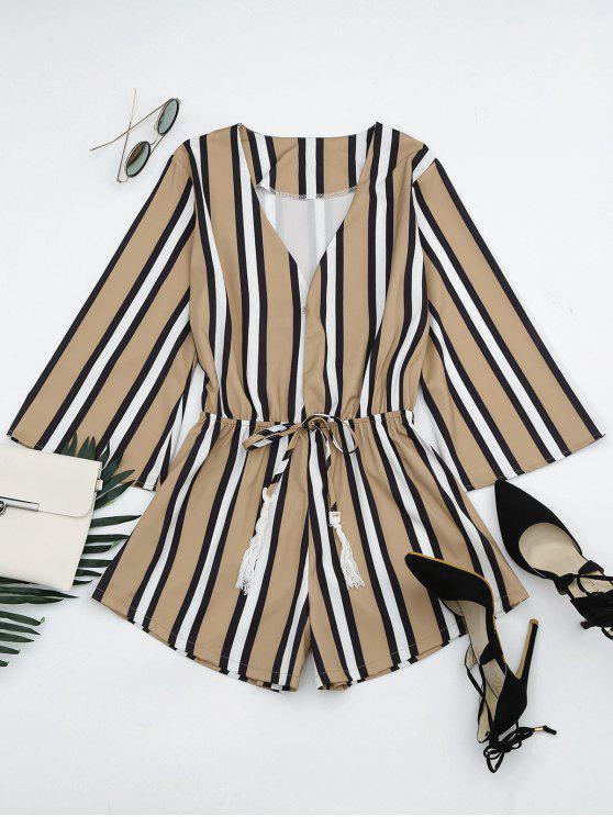outfit Plunging Neck Tassels Striped Romper - STRIPE M