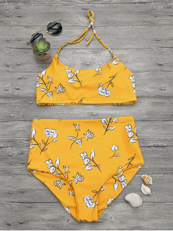 womens Slimming Control High Waisted Bralette Bikini Set - MUSTARD M