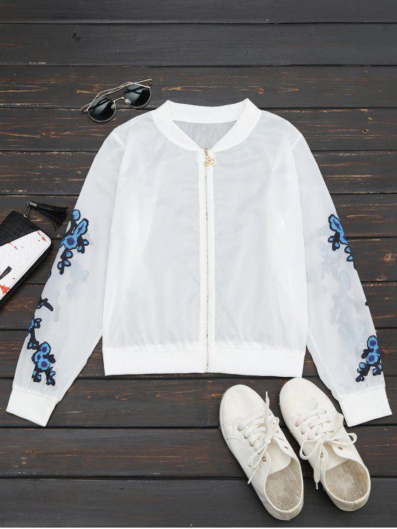 women's Floral Print Zip Up Jacket - BLUE XL